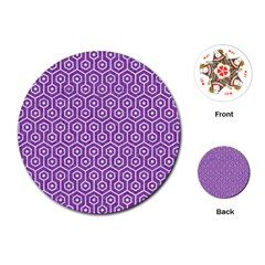HEXAGON1 WHITE MARBLE & PURPLE DENIM Playing Cards (Round)