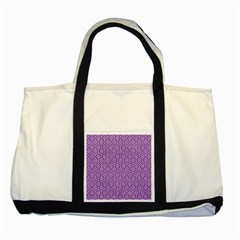 HEXAGON1 WHITE MARBLE & PURPLE DENIM Two Tone Tote Bag