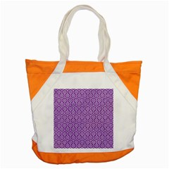 HEXAGON1 WHITE MARBLE & PURPLE DENIM Accent Tote Bag