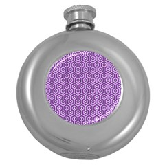 HEXAGON1 WHITE MARBLE & PURPLE DENIM Round Hip Flask (5 oz)