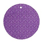 HEXAGON1 WHITE MARBLE & PURPLE DENIM Round Ornament (Two Sides) Back