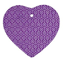 HEXAGON1 WHITE MARBLE & PURPLE DENIM Heart Ornament (Two Sides)