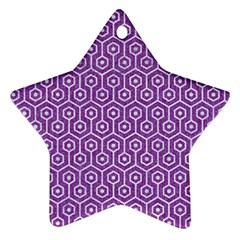 HEXAGON1 WHITE MARBLE & PURPLE DENIM Star Ornament (Two Sides)