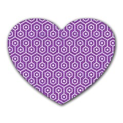 HEXAGON1 WHITE MARBLE & PURPLE DENIM Heart Mousepads
