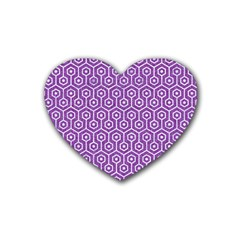 HEXAGON1 WHITE MARBLE & PURPLE DENIM Rubber Coaster (Heart)