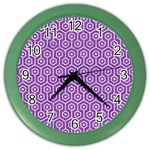 HEXAGON1 WHITE MARBLE & PURPLE DENIM Color Wall Clocks Front