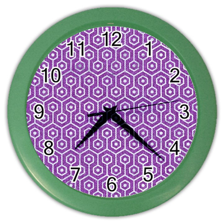 HEXAGON1 WHITE MARBLE & PURPLE DENIM Color Wall Clocks