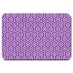 HEXAGON1 WHITE MARBLE & PURPLE DENIM Large Doormat