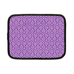 HEXAGON1 WHITE MARBLE & PURPLE DENIM Netbook Case (Small)