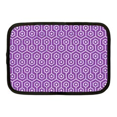 HEXAGON1 WHITE MARBLE & PURPLE DENIM Netbook Case (Medium)