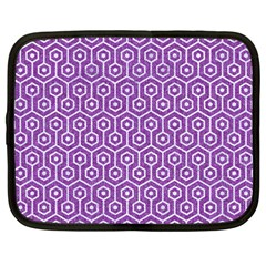 HEXAGON1 WHITE MARBLE & PURPLE DENIM Netbook Case (Large)