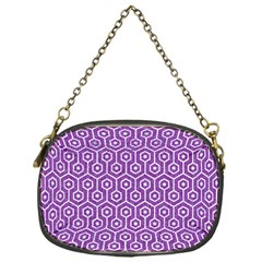 HEXAGON1 WHITE MARBLE & PURPLE DENIM Chain Purses (One Side)