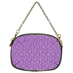 HEXAGON1 WHITE MARBLE & PURPLE DENIM Chain Purses (Two Sides)