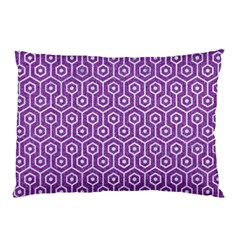 HEXAGON1 WHITE MARBLE & PURPLE DENIM Pillow Case