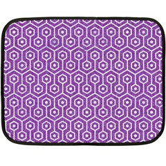 HEXAGON1 WHITE MARBLE & PURPLE DENIM Fleece Blanket (Mini)