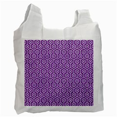 HEXAGON1 WHITE MARBLE & PURPLE DENIM Recycle Bag (One Side)