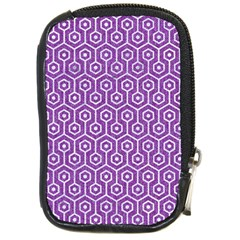 HEXAGON1 WHITE MARBLE & PURPLE DENIM Compact Camera Cases