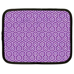 HEXAGON1 WHITE MARBLE & PURPLE DENIM Netbook Case (XXL)