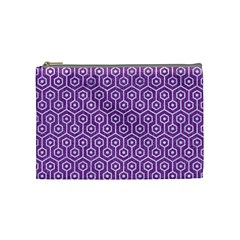 HEXAGON1 WHITE MARBLE & PURPLE DENIM Cosmetic Bag (Medium)