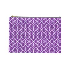 HEXAGON1 WHITE MARBLE & PURPLE DENIM Cosmetic Bag (Large)