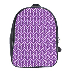 HEXAGON1 WHITE MARBLE & PURPLE DENIM School Bag (Large)