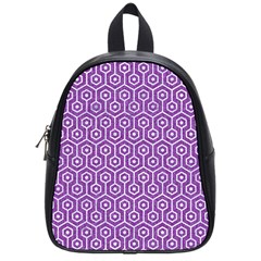 HEXAGON1 WHITE MARBLE & PURPLE DENIM School Bag (Small)