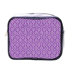 Hexagon1 White Marble & Purple Denim Mini Toiletries Bags