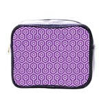 HEXAGON1 WHITE MARBLE & PURPLE DENIM Mini Toiletries Bags Front