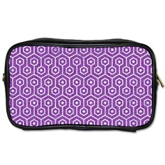 HEXAGON1 WHITE MARBLE & PURPLE DENIM Toiletries Bags 2-Side