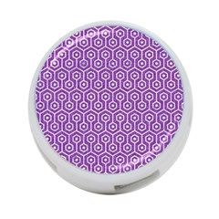 Hexagon1 White Marble & Purple Denim 4 Port Usb Hub (two Sides)