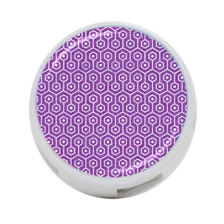 HEXAGON1 WHITE MARBLE & PURPLE DENIM 4-Port USB Hub (Two Sides)