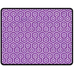 HEXAGON1 WHITE MARBLE & PURPLE DENIM Fleece Blanket (Medium)