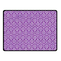 HEXAGON1 WHITE MARBLE & PURPLE DENIM Fleece Blanket (Small)