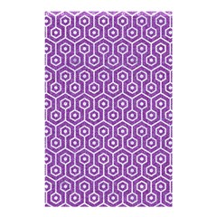 HEXAGON1 WHITE MARBLE & PURPLE DENIM Shower Curtain 48  x 72  (Small)