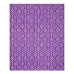 HEXAGON1 WHITE MARBLE & PURPLE DENIM Shower Curtain 60  x 72  (Medium)