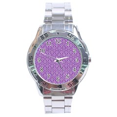 HEXAGON1 WHITE MARBLE & PURPLE DENIM Stainless Steel Analogue Watch