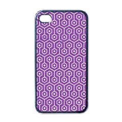 HEXAGON1 WHITE MARBLE & PURPLE DENIM Apple iPhone 4 Case (Black)