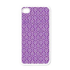 HEXAGON1 WHITE MARBLE & PURPLE DENIM Apple iPhone 4 Case (White)