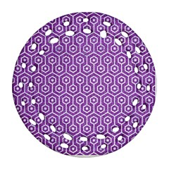 HEXAGON1 WHITE MARBLE & PURPLE DENIM Ornament (Round Filigree)