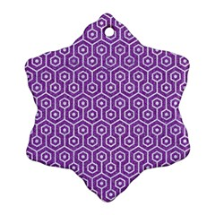 HEXAGON1 WHITE MARBLE & PURPLE DENIM Snowflake Ornament (Two Sides)