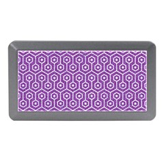 Hexagon1 White Marble & Purple Denim Memory Card Reader (mini) by trendistuff
