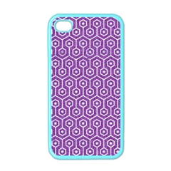 HEXAGON1 WHITE MARBLE & PURPLE DENIM Apple iPhone 4 Case (Color)