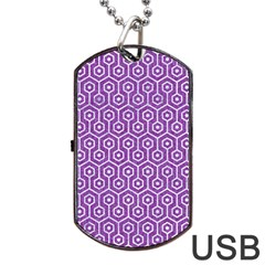 HEXAGON1 WHITE MARBLE & PURPLE DENIM Dog Tag USB Flash (One Side)