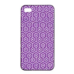 HEXAGON1 WHITE MARBLE & PURPLE DENIM Apple iPhone 4/4s Seamless Case (Black)