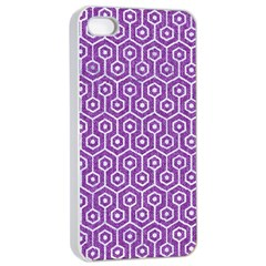 HEXAGON1 WHITE MARBLE & PURPLE DENIM Apple iPhone 4/4s Seamless Case (White)