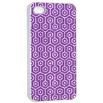 HEXAGON1 WHITE MARBLE & PURPLE DENIM Apple iPhone 4/4s Seamless Case (White) Front
