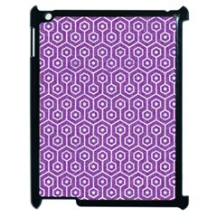 Hexagon1 White Marble & Purple Denim Apple Ipad 2 Case (black) by trendistuff