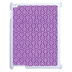 HEXAGON1 WHITE MARBLE & PURPLE DENIM Apple iPad 2 Case (White)