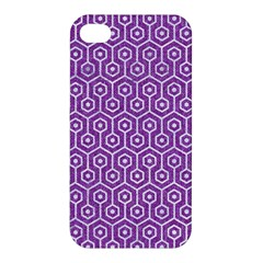 HEXAGON1 WHITE MARBLE & PURPLE DENIM Apple iPhone 4/4S Premium Hardshell Case