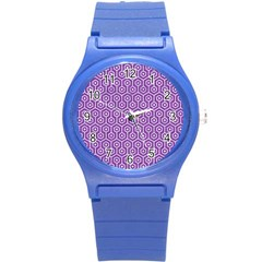 HEXAGON1 WHITE MARBLE & PURPLE DENIM Round Plastic Sport Watch (S)